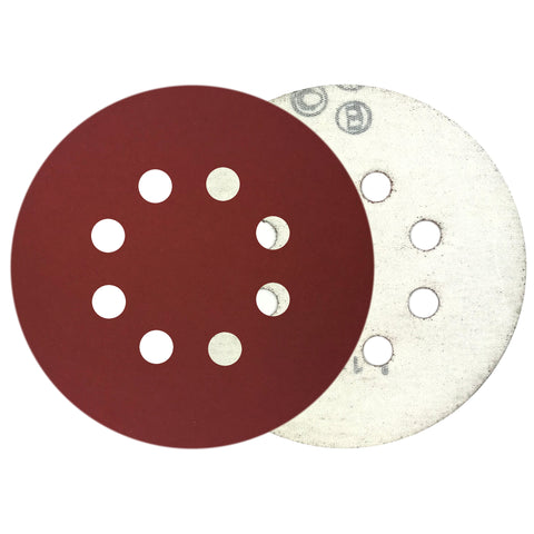 "5"" 600 Grit 8-Hole Red Grain Hook & Loop Sanding Discs, 10 Discs"