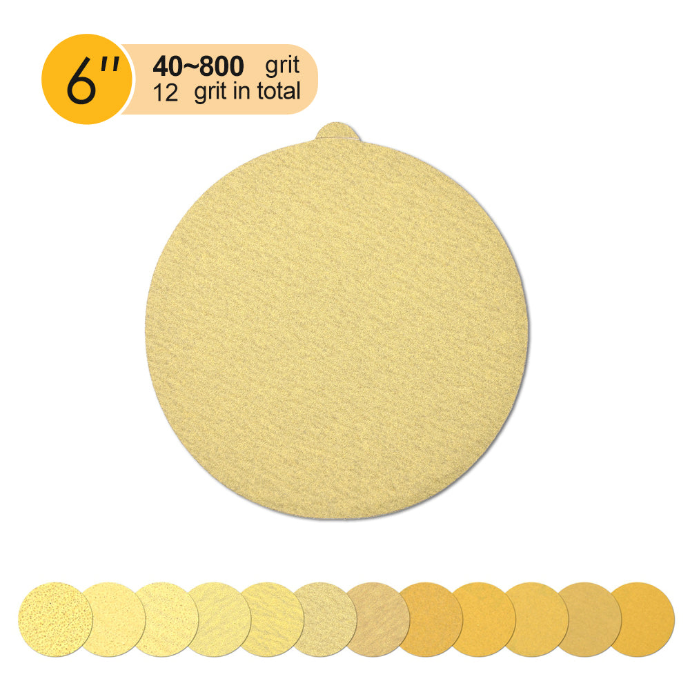 "6"" (150mm) PSA Yellow Grain Sanding Discs for Wet/Dry Sanding (40-800 Grit), 1 Disc"