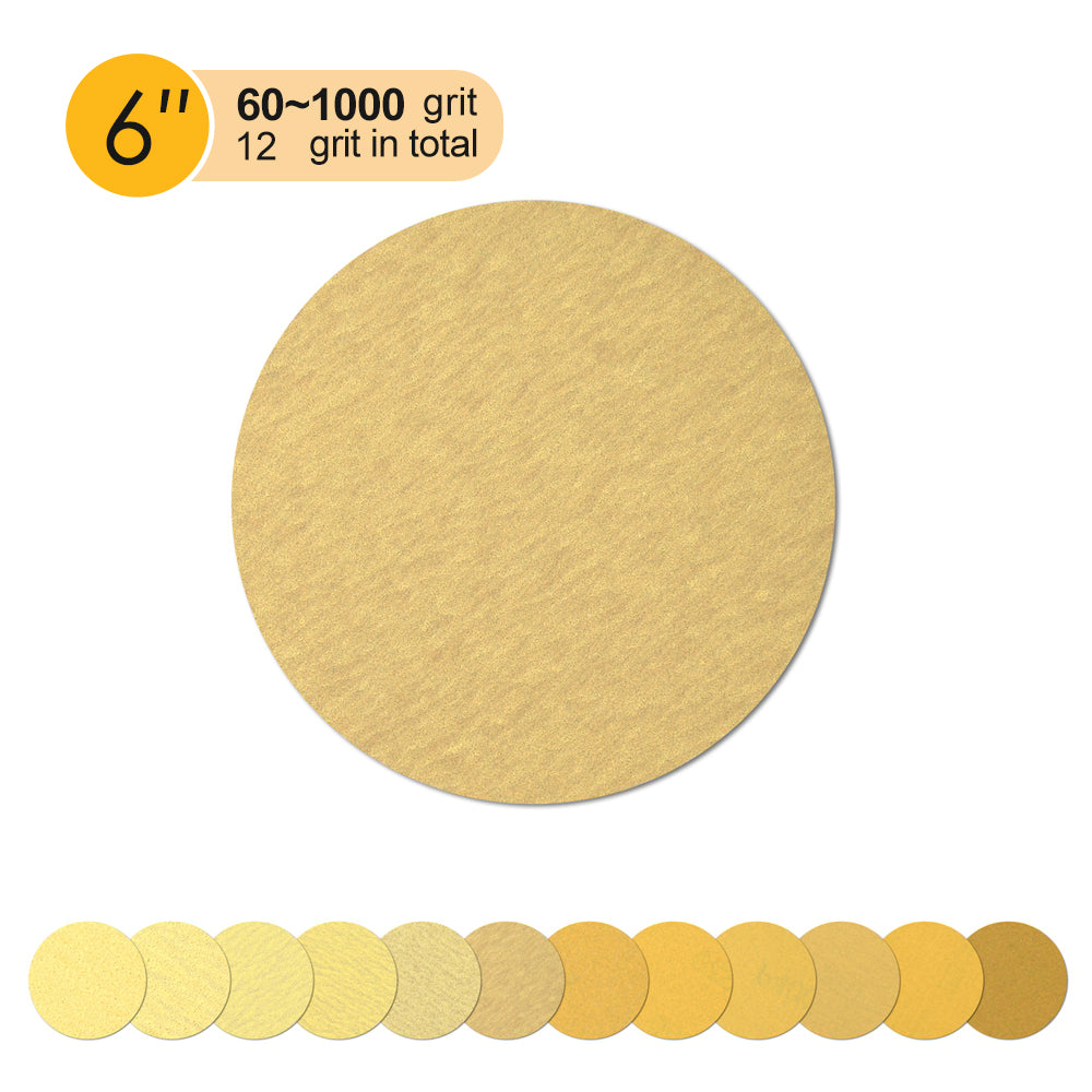 "6"" (150mm) Yellow Hook&Loop Sanding Discs for Dry Sanding (80-400 Grit), 1 Disc"