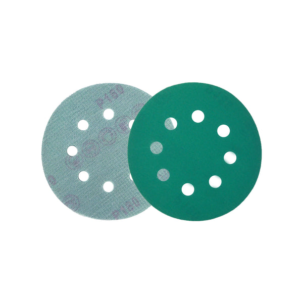 "5"" (125mm) 8-Hole 180 Grit Hook & Loop Wet/Dry Polyester Film Green Sanding Discs, 10 Discs"