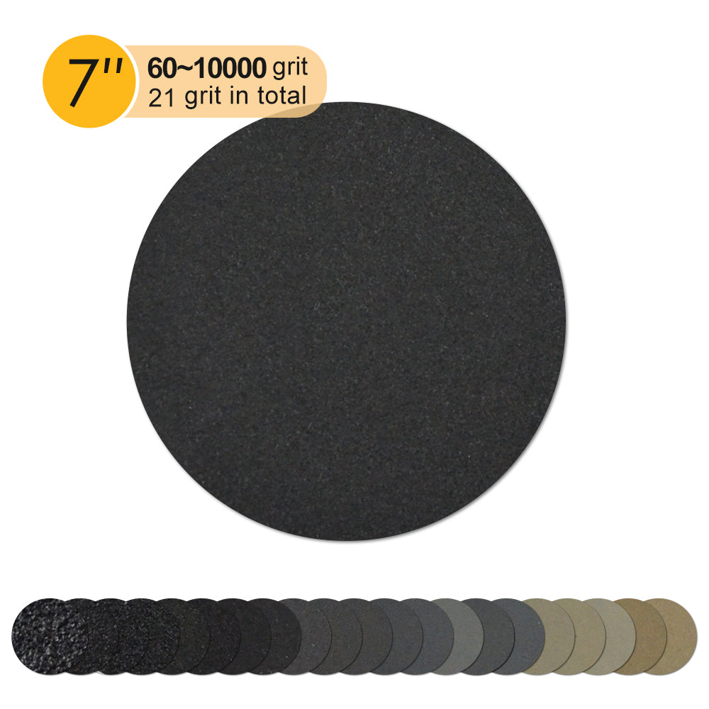 "7"" (180mm) Silicon Carbide Wet/Dry Hook & Loop Sanding Discs (60-10000 Grit), 1 Disc"