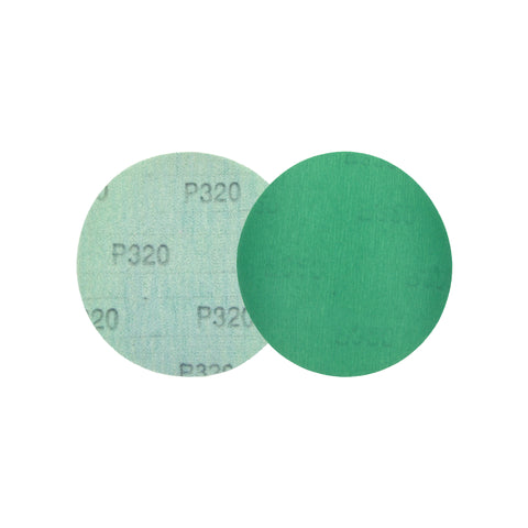"5"" (125mm) 320 Grit Hook & Loop Wet/Dry Polyester Film Green Sanding Discs, 10 Discs"