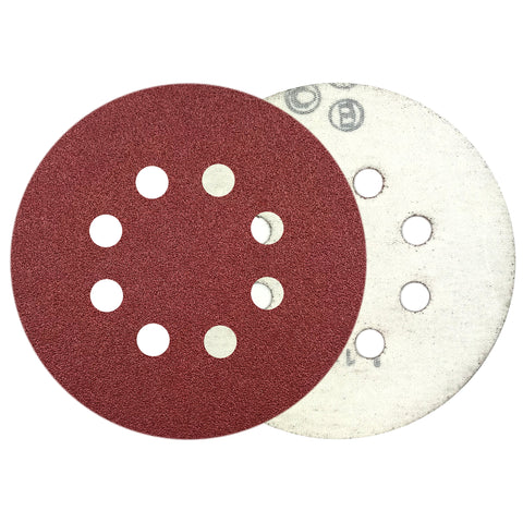 "5"" 80 Grit 8-Hole Red Grain Hook & Loop Sanding Discs, 10 Discs"