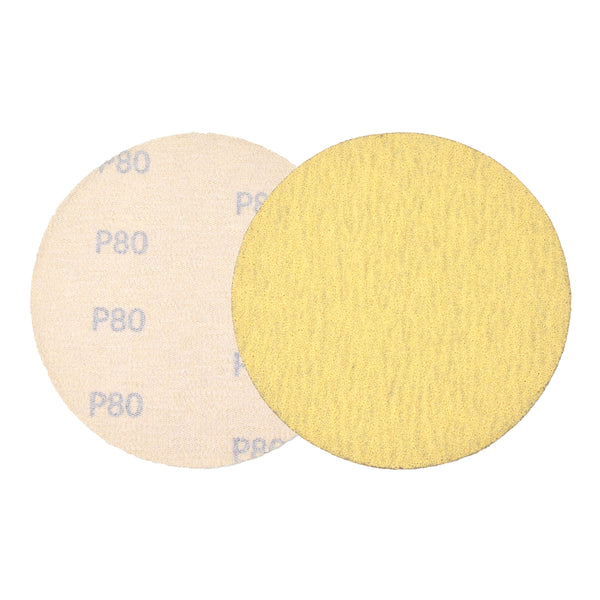 "5"" (125mm) 80 Grit Yellow Hook&Loop Sanding Discs for Dry Sanding, 10 Discs"