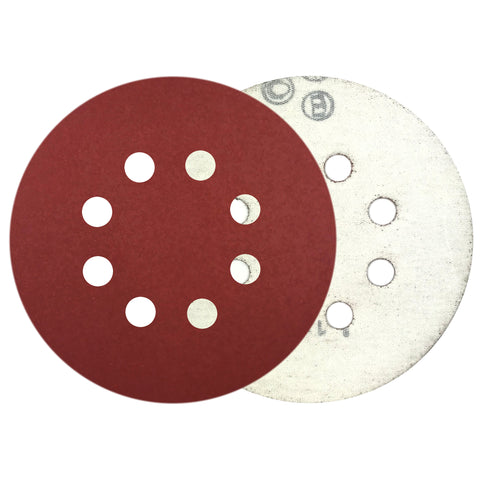 "5"" 800 Grit 8-Hole Red Grain Hook & Loop Sanding Discs, 10 Discs"