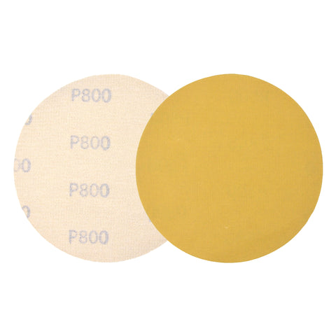"5"" (125mm) 800 Grit Yellow Hook&Loop Sanding Discs for Dry Sanding, 10 Discs"
