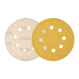 "5"" (125mm) 8-Hole 800 Grit Yellow Hook&Loop Sanding Discs for Dry Sanding, 10 Discs"