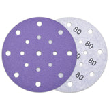 "6"" (150mm) 17-Hole 80 Grit Hurricane Purple Hook&Loop Sanding Discs for Dry Sanding, 10 Discs"