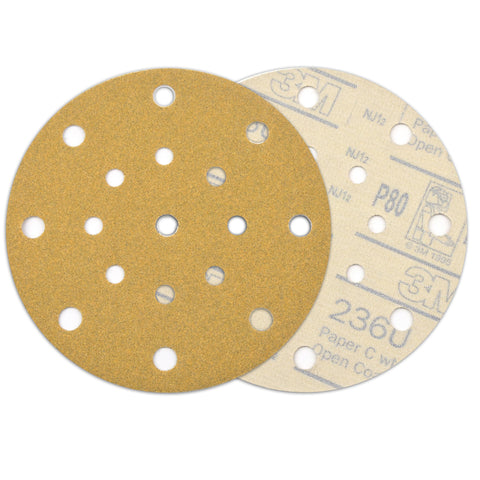 "6"" (150mm) 17-Hole 80 Grit Yellow Hook&Loop Sanding Discs for Dry Sanding, 10 Discs"