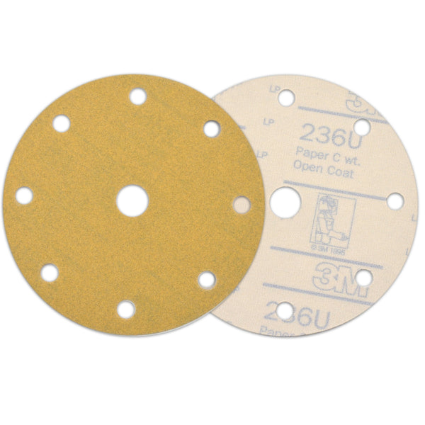 "6"" (150mm) 9-Hole 80 Grit Yellow Hook&Loop Sanding Discs for Dry Sanding, 10 Discs"