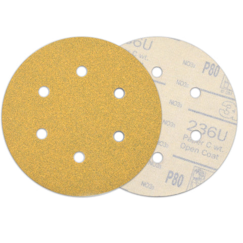 "6"" (150mm) 6-Hole 80 Grit Yellow Hook&Loop Sanding Discs for Dry Sanding, 10 Discs"