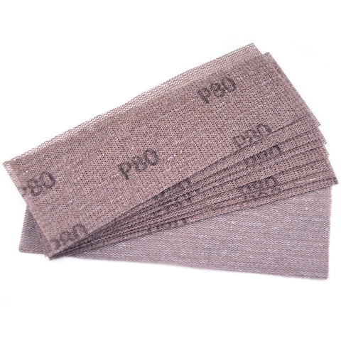 "3 x 8""(70 x 198mm)80 Grit Hook & Loop or Clip on Sander Pads,Mesh Dust Free Sandpaper, 10 PCS"