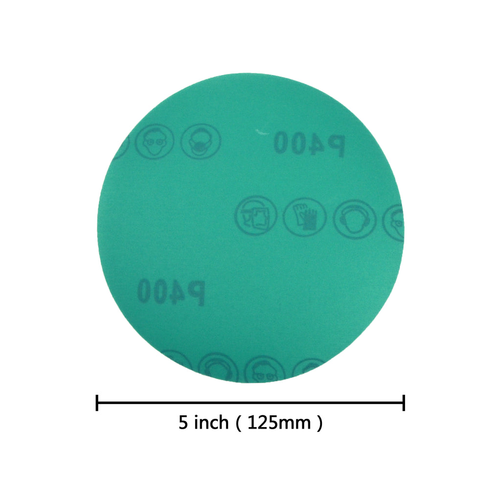 "5"" (125mm) 400 Grit Hook & Loop Wet/Dry Polyester Film Green Sanding Discs, 10 Discs"