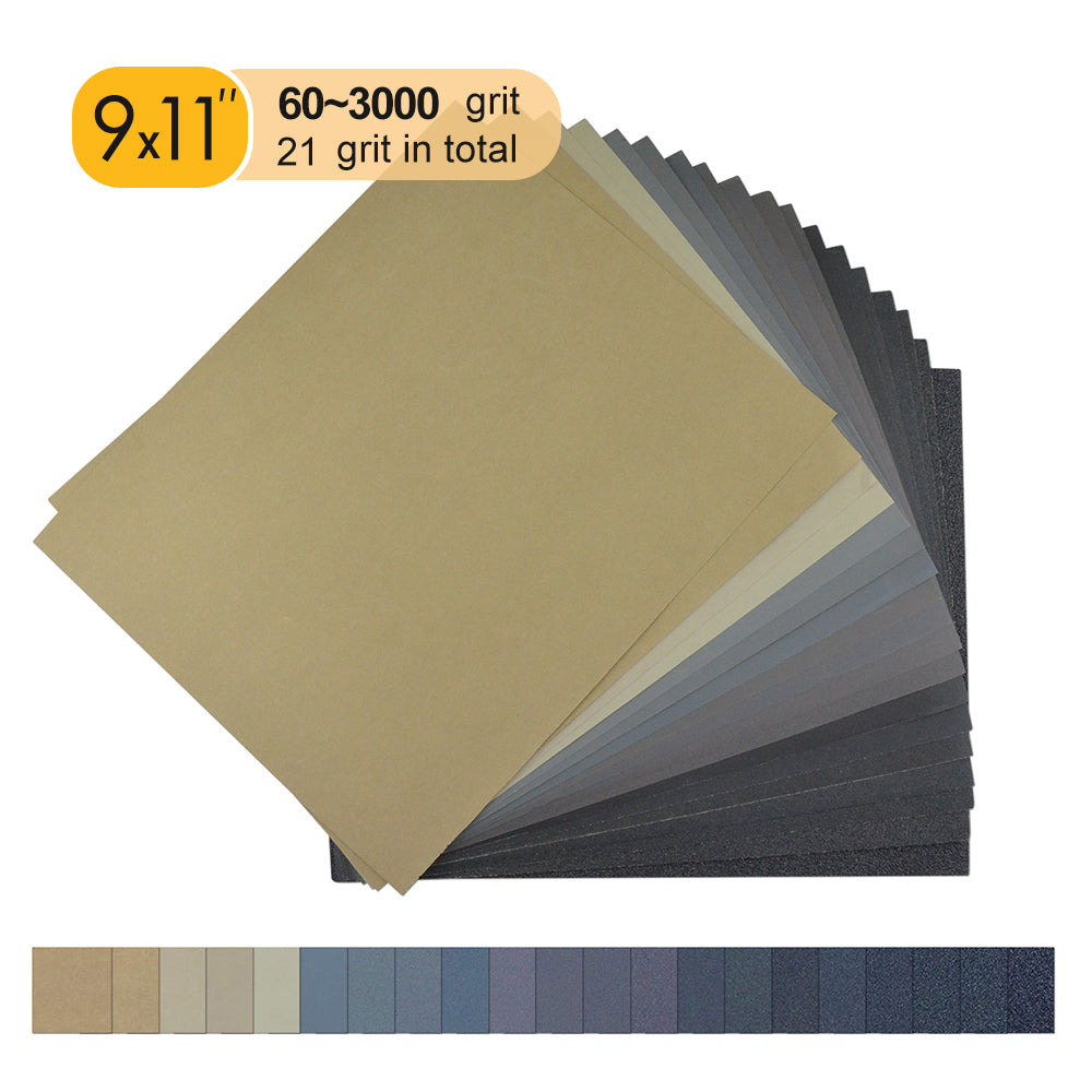 "9 x 11"" (230 x 280mm) Silicon Carbide Wet/Dry Sanding Sheets Abrasive Paper Sheets (60-10000 Grit), 1 PC"