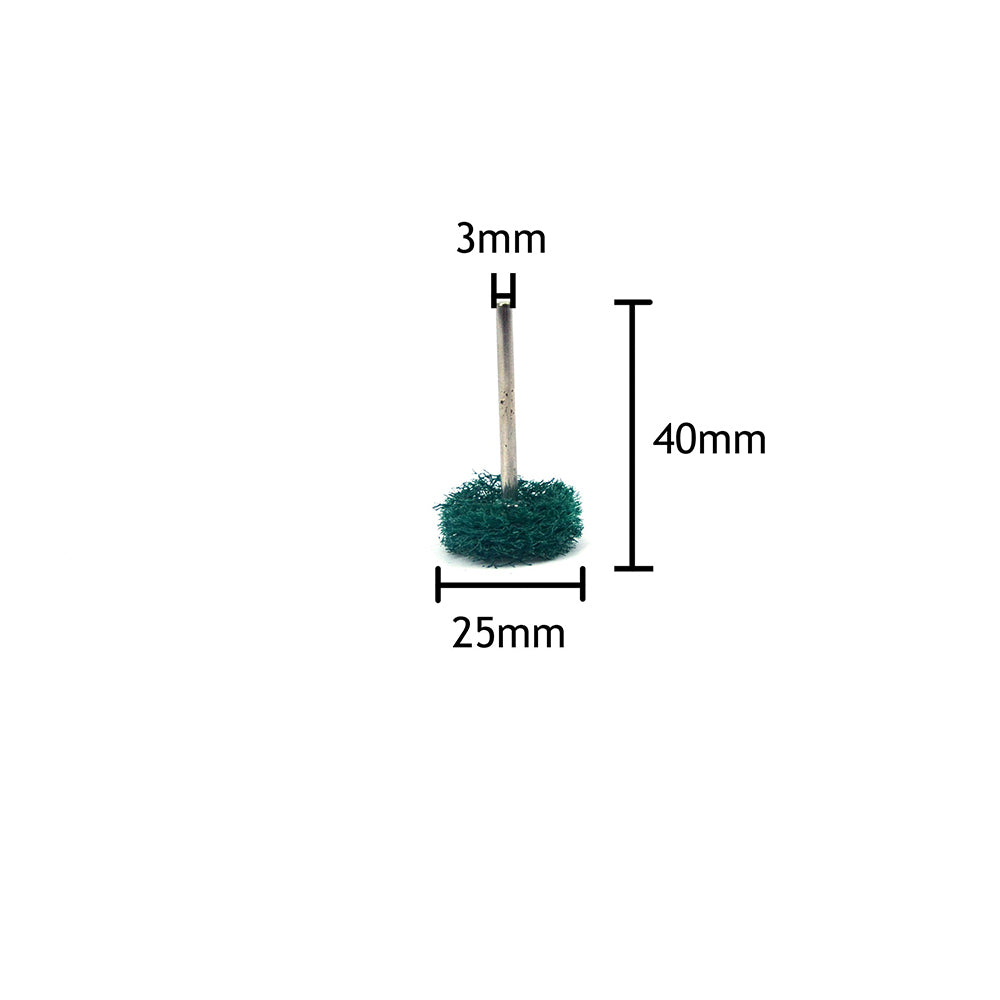 "1"" (25mm) x 3mm Mounted Shank Scouring Points Buffing Wheels, Green, Coarse"
