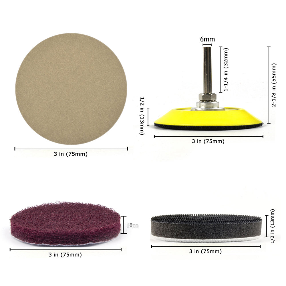 "Headlight Restoration DIY Kit (for Electric Drill), 3"" (75mm) Scouring Pads + Sanding Discs, Total 20PCS"