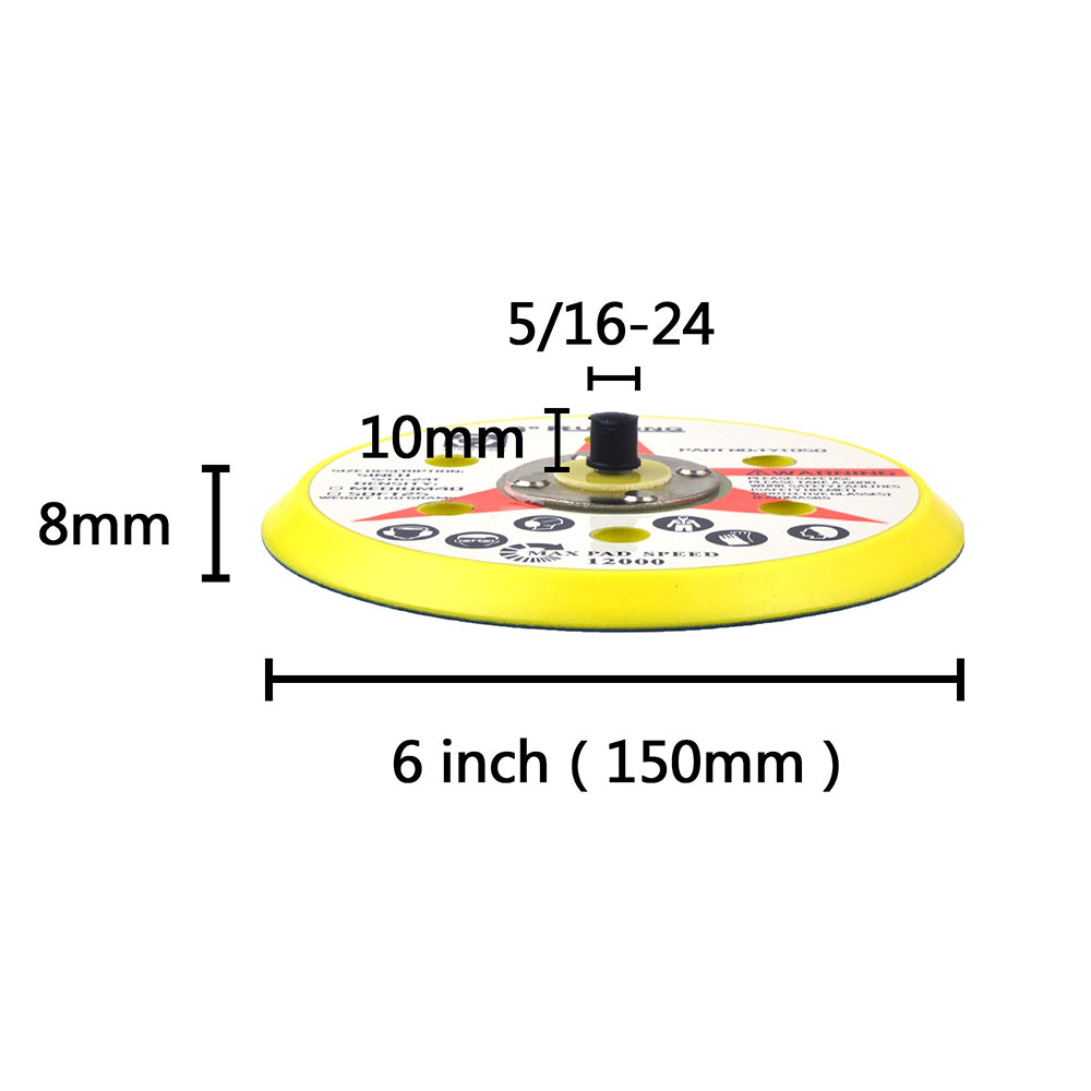 "6"" (150mm) x 5/16-24 Male 6 Hole PSA Back-up Sanding Pads"