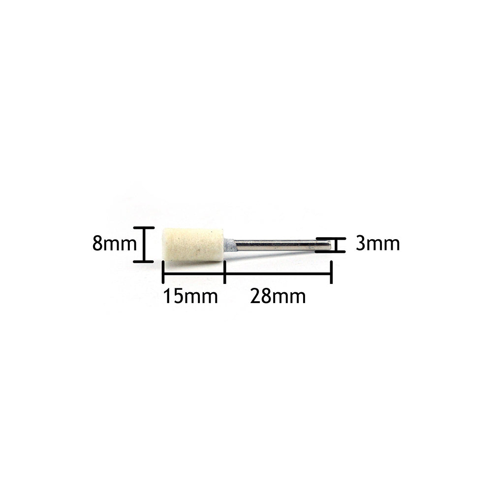 8mm x 3mm Mounted Shank Wool Felt Bobs Mandrel Grinding Polishing Points Buffing Heads, Cylindrical