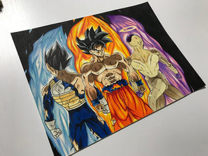 Goku, Vegeta, and Frieza Poster Print from Dragonball Super (Print)