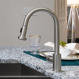 Kitchen Faucet - Single Handle - 16.5 Inch Goose Neck from side