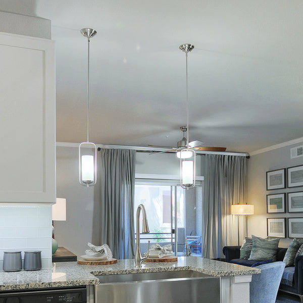 Mini-Pendant Light with Wrap-Around Bar in Kitchen