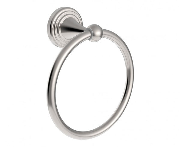 Decorative Towel Ring - 6 Inch - Tiered Design in Brushed Nickel