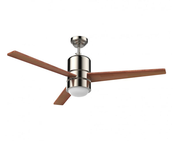 48 in. Ceiling Fan - 3 Blade with Small Frosted Glass Dome Diffuser in Brush Nickel
