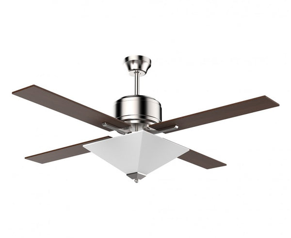 52 in. Ceiling Fan - 4 Blade with Pyramid Diffuser in Brushed Nickel