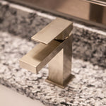 Bathroom Faucet - Single Handle - Brass - Square Edge Design