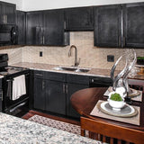 Kitchen Sink - Stainless Steel 31 Inch - 60/40 Double Bowl - Undermount installed in front of white tile and black cabinets
