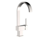 Chrome Bar Faucet - Gooseneck Flattened Spout - Single Lever