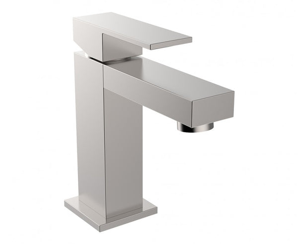Bathroom Faucet - Single Handle - Brass - Square Edge Design in Brushed Nickel