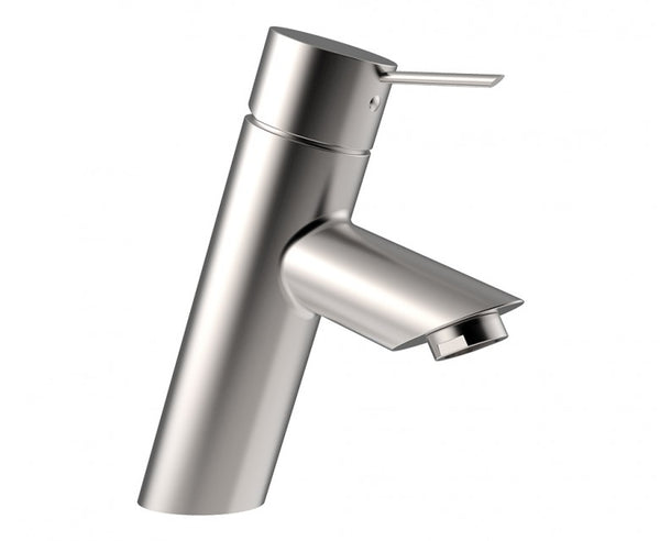 Minimalist cylinder design for bathroom faucet in brushed nickel finish