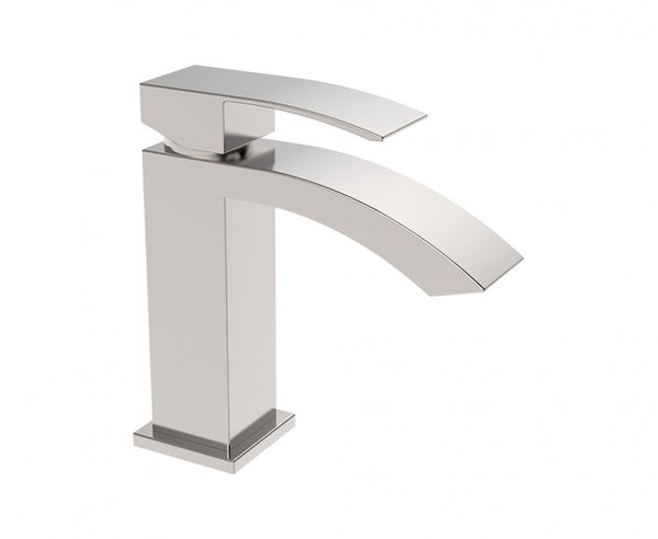 Bathroom Faucet in Brushed Nickel - One Hole Countertop Mount - Minimalist Design
