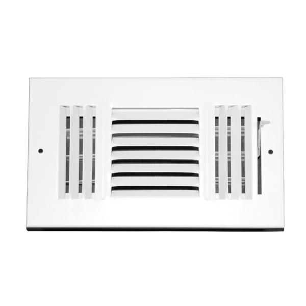 8 Inch x 4 Inch Wall and Ceiling Register - Three-Way - Steel