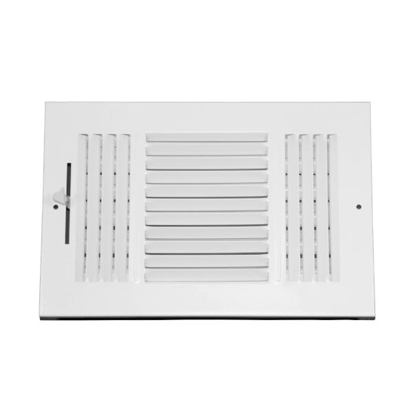 10 Inch x 6 Inch Wall and Ceiling Register - Three-Way - Steel