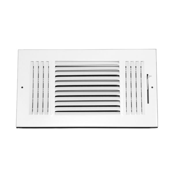 12 Inch x 6 Inch Wall and Ceiling Register - Three-Way - Steel