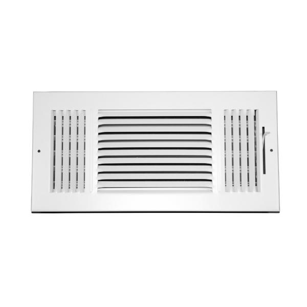14 Inch x 6 Inch Wall and Ceiling Register - Three-Way - Steel