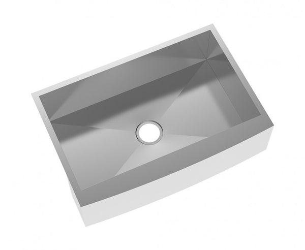 Farmhouse Kitchen Sink - Stainless Steel 33 Inch - Apron Front - Single Bowl - Undermount