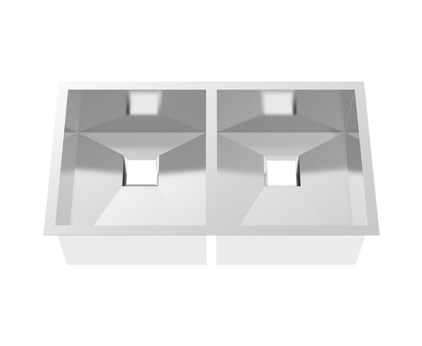 Kitchen Sink - Stainless Steel 32 Inch - 50/50 Double Bowl Square Drain - Undermount