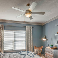 52 in. Ceiling Fan - 5 Blade - Dome Differs for 2 Bulbs installed in a living room