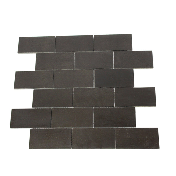 Black Backsplash Tile - 2 by 4 tiles on a Square Foot Sheet