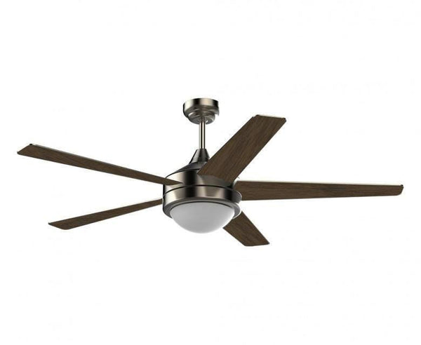 52 in. Ceiling Fan - 5 Blade - Dome Differs for 2 Bulbs in Brushed Nickel Finish
