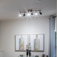 Track Lighting - 6 Lights with Twin Bluetooth Speakers in Oil Rubbed Bronze installed in a dining room