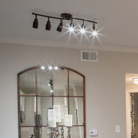 6 Light Track Lighting above a mirror