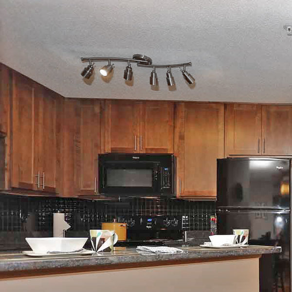 ... Track Lighting   6 Lights With Twin Bluetooth Speakers In Kitchen