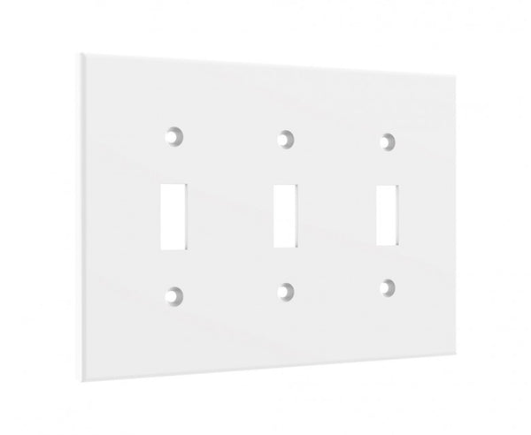 White 3 Light Switch Cover - Standard 3 Gang Midway Wall Plate
