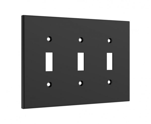 Black 3 Light Switch Cover - Standard 3 Gang Midway Wall Plate