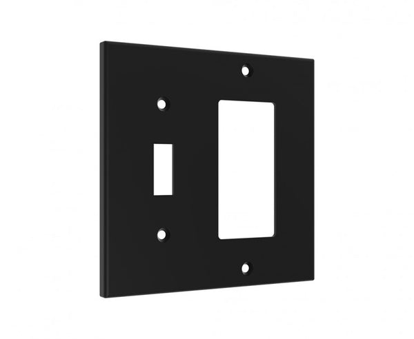 Black Combo Wall Plate - Light Switch and GFCI