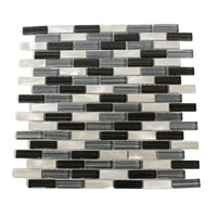 Kitchen Backsplash Mosaic Tile in a Blue Glass, Black Glass, and Metal Mix